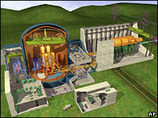 Computer-generated image of the EPR nuclear power station being built at Flamanville, France (4 February 2009)