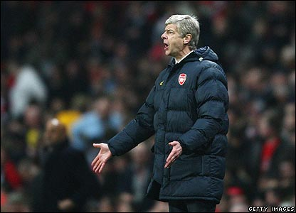 Arsenal manager Arsene Wenger shows his frustration