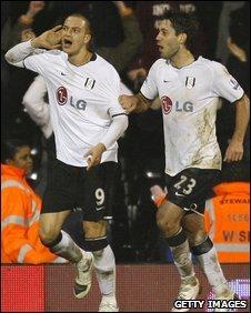 Fulham goal-scorers Bobby Zamora and Clint Dempsey celebrate