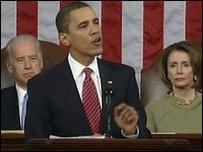 الرئيس الأمريكي باراك أوباما مخاطبا مجلسي الكونجرس الأمريكي (25/02/2009)