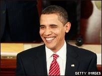 Барак Обама выступает перед конгрессом 24 февраля 2009 года