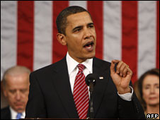 Barack Obama delivers an address to a joint session of Congress, 24 February 2009