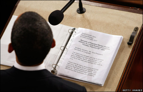 Pages of Mr Obama's speech on the lectern
