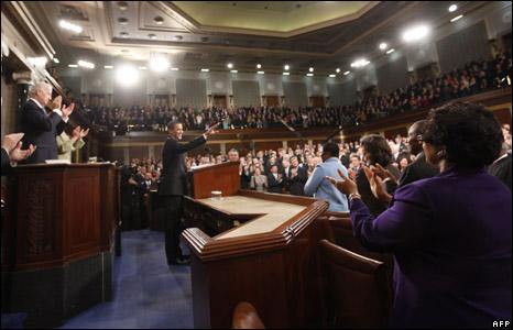 Mr Obama giving his speech