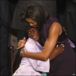 First lady Michelle Obama hugs Ty'Sheoma Bethea of Dillon, South Carolina