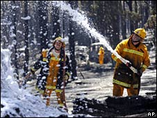 Firefighters douse a smouldering tree in foam in Daylesford, Australia, on 24 February 2009