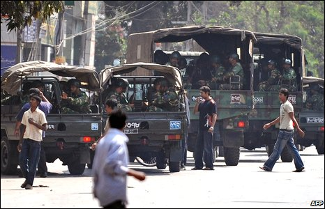 Military trucks outside the Bangladesh Rifles HQ