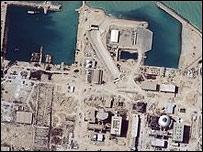 Снимок АЭС в Бушере со спутника (digital globe, 2004)