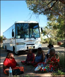 The bus before leaving Alice Springs