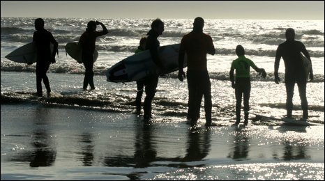 Surfers at Southerndown - photo by Pete Bowler.