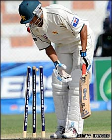 Younus Khan is bowled for 313 by Dilharo Fernando