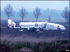 Crashed Turkish Airlines Boeing 737-800 near Schiphol Airport