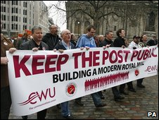Protesting postmen in London