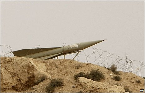 Barbed wire and a missile emplacement on the perimeter of the nuclear power plant in Bushehr