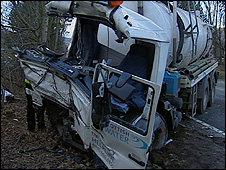 One of the lorries involved in the crash