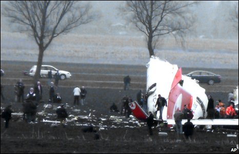 The tail of the crashed Turkish Airlines aircraft