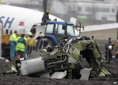 Wreckage of a Turkish Airlines plane at Schiphol airport in Amsterdam on 25 February 2009