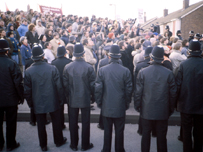 Police line during the strike