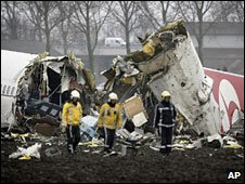 Wreckage of Turkish Airlines flight at Schiphol airport