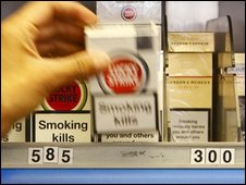 Cigarettes on a shelf