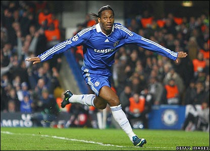 Didier Drogba celebrates giving Chelsea the lead
