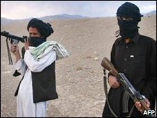 Masked Taleban militants pose for a photographer in Wardak province. File photo