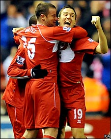 Middlesbrough celebrate Stewart Downing's opener