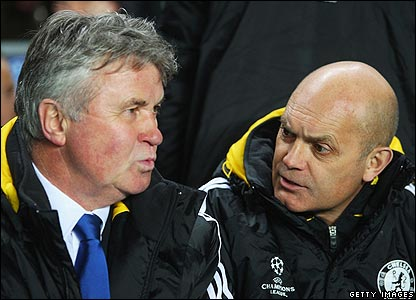 Chelsea boss Guus Hiddink and assistant manager Ray Wilkins
