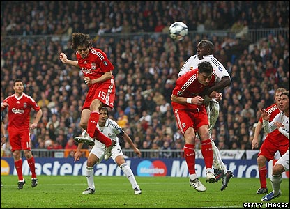 Liverpool's Yossi Benayoun heads Fabio Aurelio's free-kick home in the 82nd minute