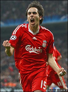 Benayoun celebrates scoring the winner for Liverpool