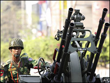 A soldier outside the BDR headquarters in Dhaka, 25 Feb