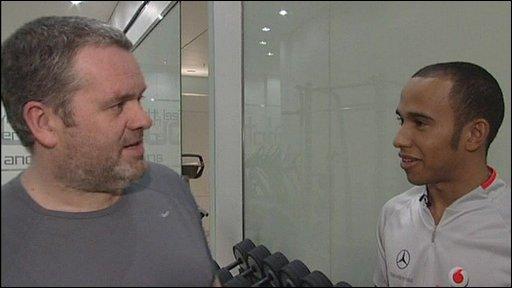 Chris Moyles and Lewis Hamilton