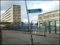 Wonky sign to Aylesbury estate sport centre