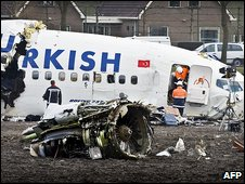 Wreck of Turkish Airlines plane at Schiphol