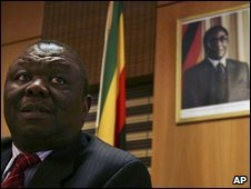 Zimbabwean PM Morgan Tsvangirai at a news conference in Harare, Zimbabwe, on 25 February 2009