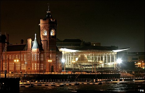 The Pierhead building and the Senedd in Cardiff Bay