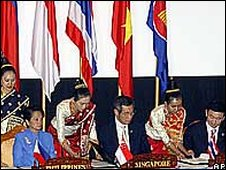 Asean leaders at signing ceremony, Vientiane 2004