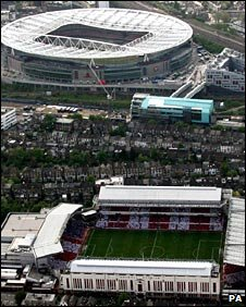 The Emirates Stadium (Top), and Highbury