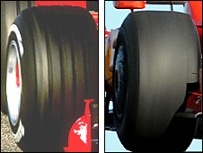 Grooved tyres (left) are out, slicks (right) are back in 2009