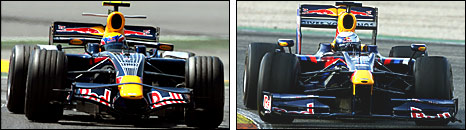 The 2008 Red Bull (left) compared to the 2009 model