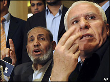 Fatah's Azzam al-Ahmed (right) and Mahmoud Zahar of Hamas at a preliminary meeting in Cairo 25/2/2009