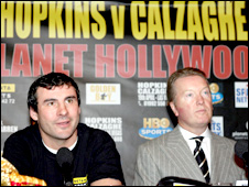 Joe Calzaghe (left) with promoter Frank Warren during a press conference at Planet Hollywood, London, 23 January 2008
