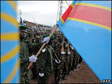 Congolese soldier with the flag