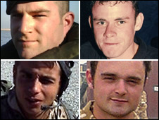 Cpl Tom Gaden, L/Cpl Paul Upton (top l-r) Rifleman Jamie Gunn and Royal Marine Michael Laski (bottom l-r)