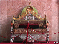 Gold-and-silver-crafted throne of the kings in former royal palace, Kathmandu