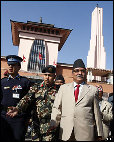 Nepalese PM Prachanda at the former royal palace in Kathmandu, 26 February 2009