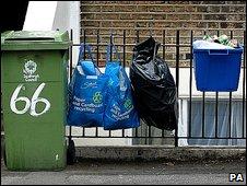 Recycling bins in Southwark