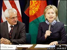 Afghan Foreign Minister Rangin Dadfar and US Secretary of State Hillary Clinton in Washington. Photo: 26/02/09