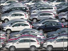 Cars for export are parked at a Yokohama port, near Tokyo. File photo