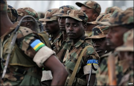 Rwandan soldiers in Goma, eastern DR Congo, on 25 February 2009